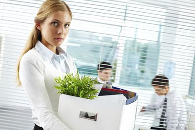 Fired employee leaving the office