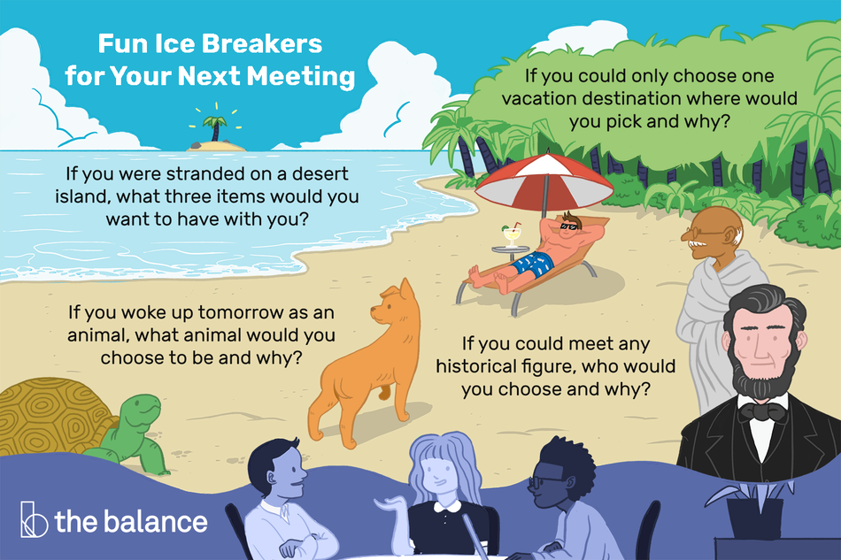 "This illustration shows fun ice breakers for your next meeting including ""If you could only choose on vacation destination, where would you pack and why?"", ""If you were stranded on a desert island, what three items would you want to have with you?"", ""If you work up tomorrow as an animal, what animal would you choose to be and why?"", and ""If you could meet any historical figure, who would you choose and why?"""