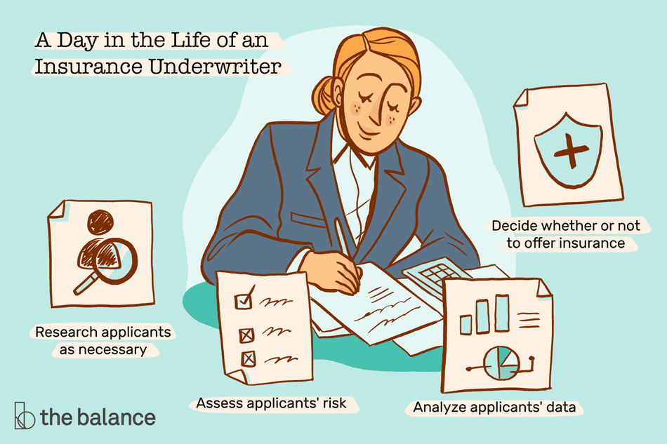 A day in the life of an insurance underwriter: Research applicants as necessary, assess applicants' risk, analyze applicants' data, decide whether or not to offer insurance