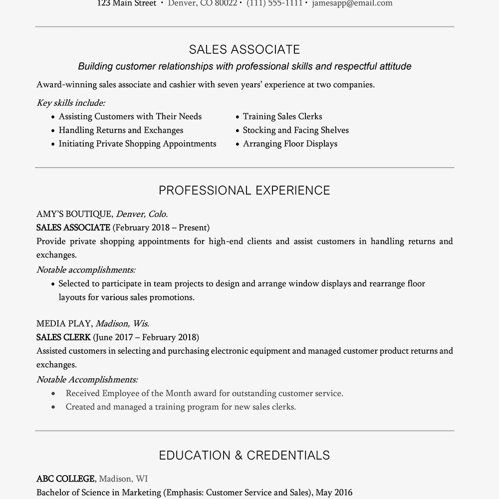 Resume With A Headline Example And Writing Tips