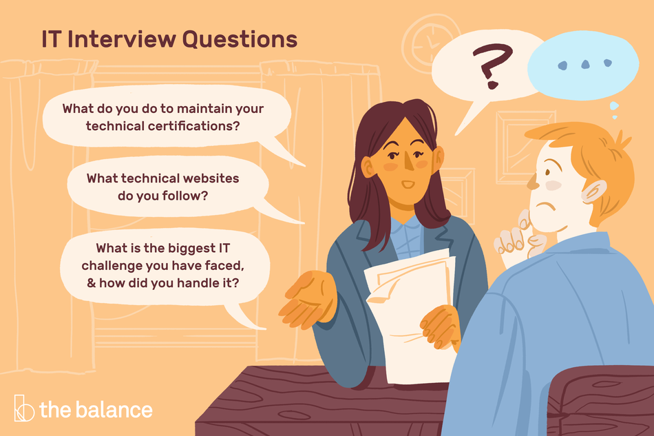 "image shows a woman conducting an interview with a man. She has a question mark over her head, and he has an ellipses over his. Title reads: ""IT Interview questions."" There are three speech bubbles coming from the woman that reads: ""What do you do to maintain your technical certifications? What technical websites do you follow? What is the biggest IT challenge you have faces and how did you handle it?"""