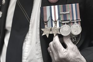 Naval medals pinned to jacket