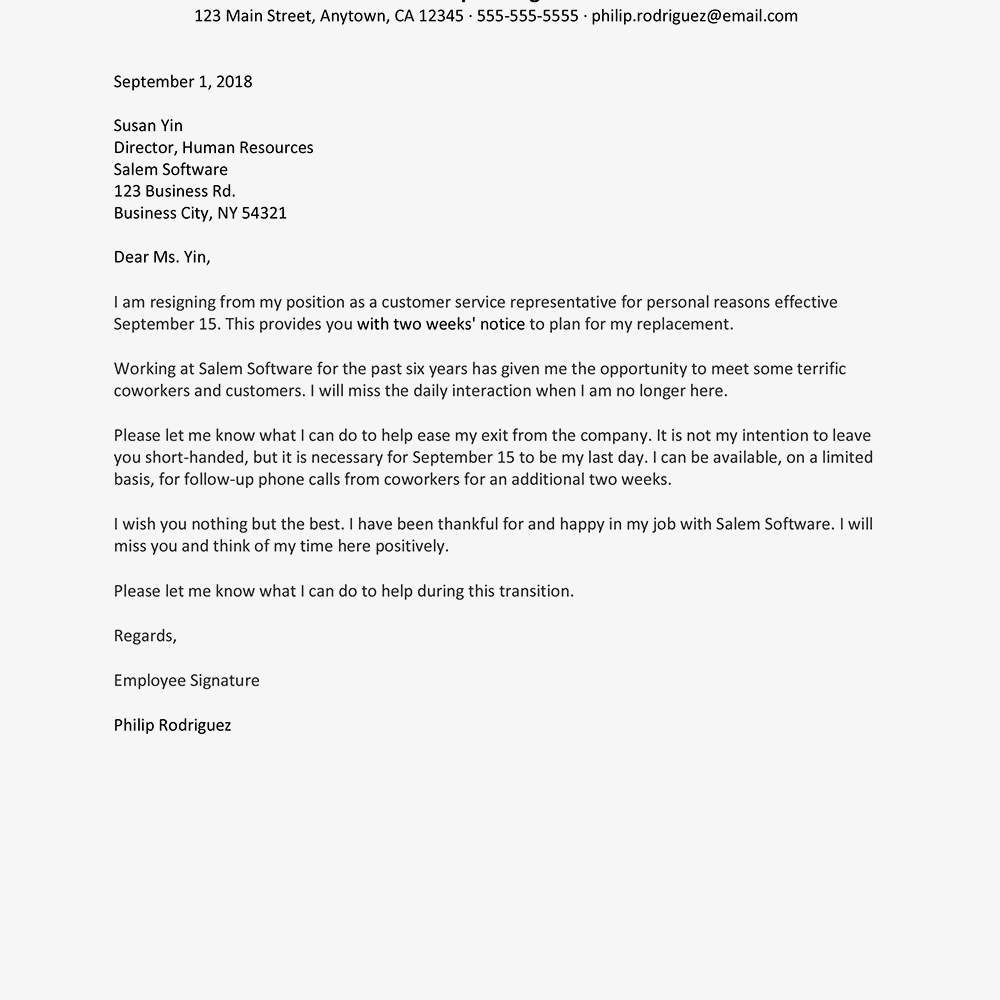 resignation letter sample text version