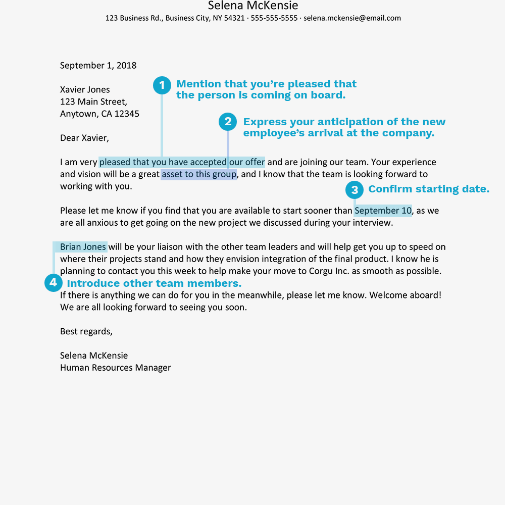screenshot of a welcome aboard letter sample
