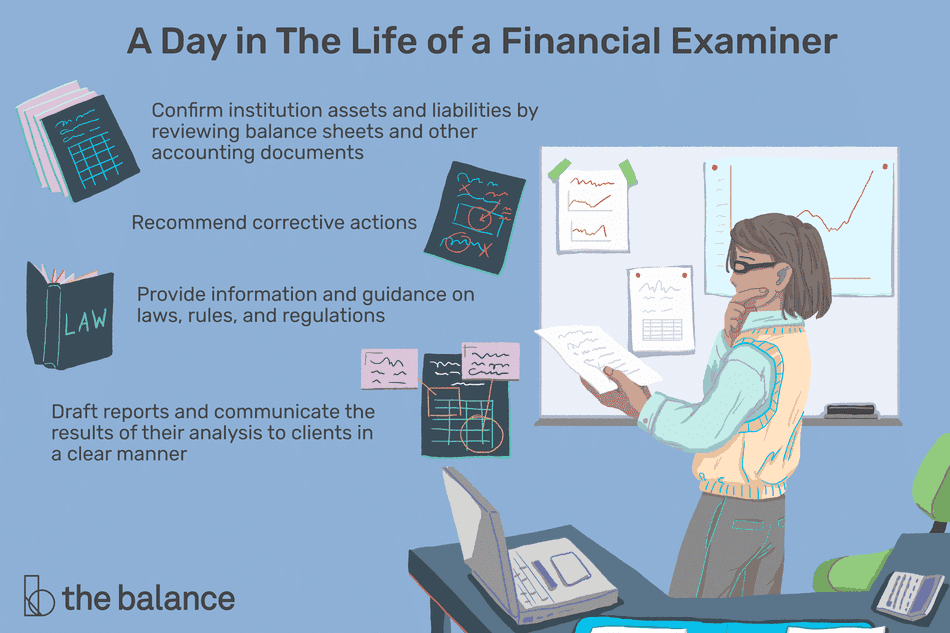 A day in the life of a financial examiner: Confirm institution assets and liabilities by reviewing balance sheets and other accounting documents; recommend corrective actions; provide information and guidance on laws, rules and regulations; draft reports and communicate the results of their analysis to clients in a clear manner