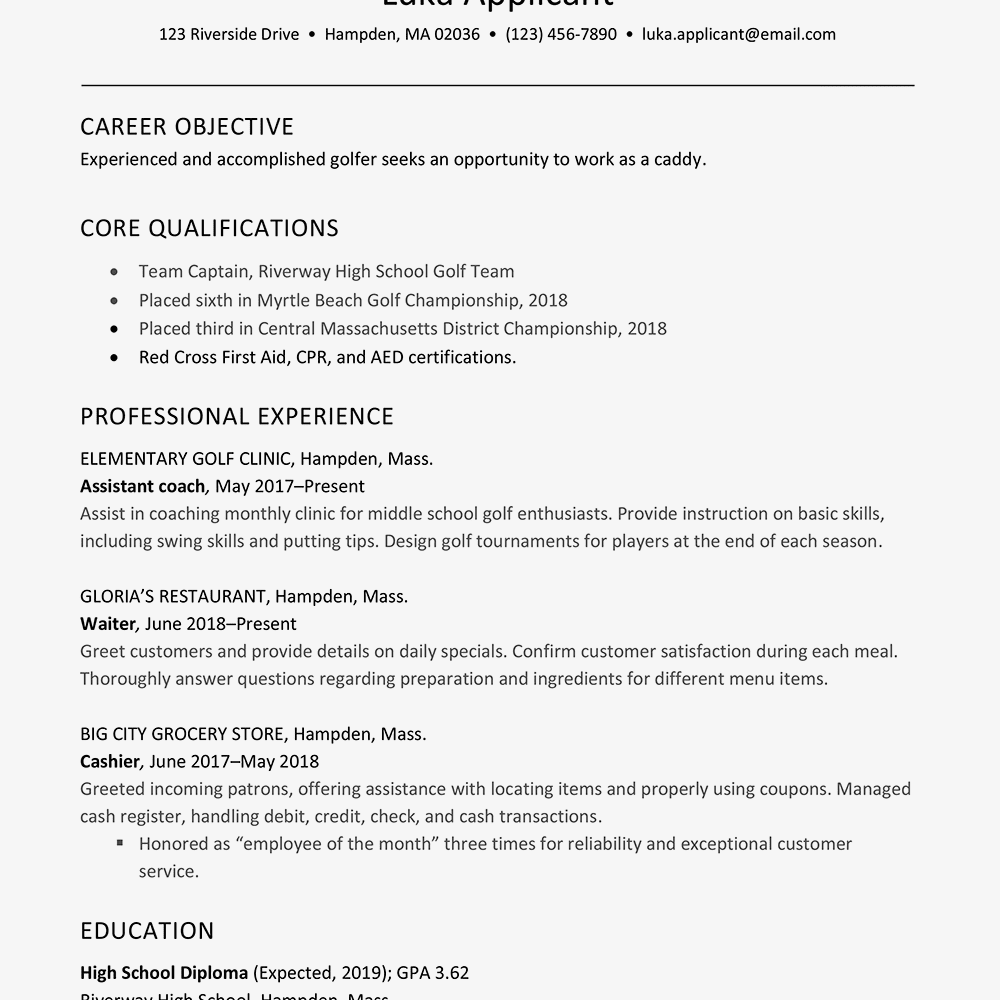 Screenshot Of A Golf Caddy Resume Example