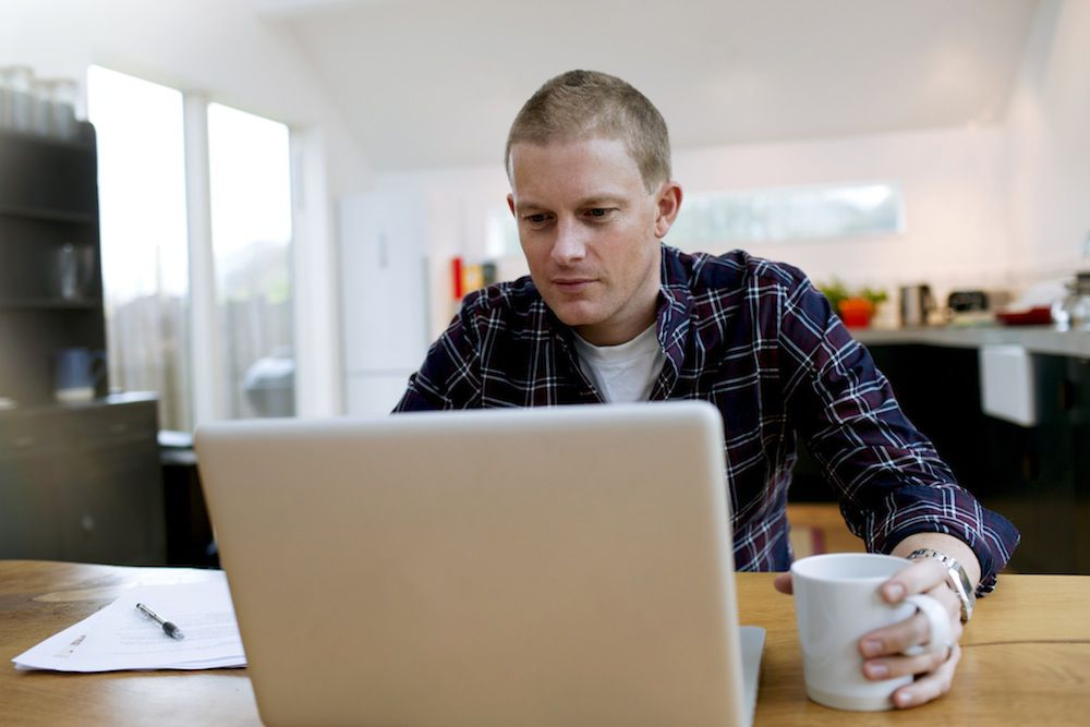 Man freelancing from home