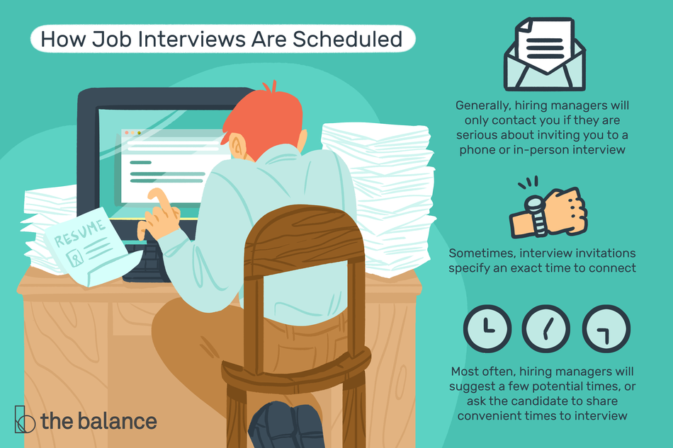 "This illustration addresses how job interviews are scheduled and includes ""Generally, hiring managers will only contact you if there are serious about inviting you to a phone or in-person interview,"" ""Sometimes, interview invitations specify an exact time to connect,"" and ""Most often, hiring managers will suggest a few potential times, or ask the candidate to share convenient times to interview."""