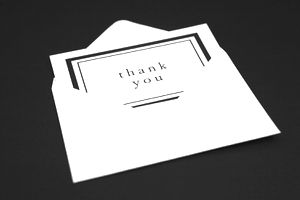 A thank you card in an envelope