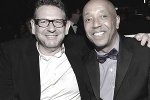 Record label execs Lucian Grainge (CEO, Universal Music Group) and Russell Simmons (Def Jam Records)