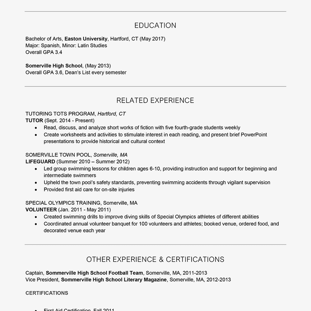 resume for camp counselor