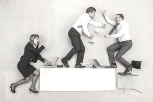humorous portrayal of three employees in conflict