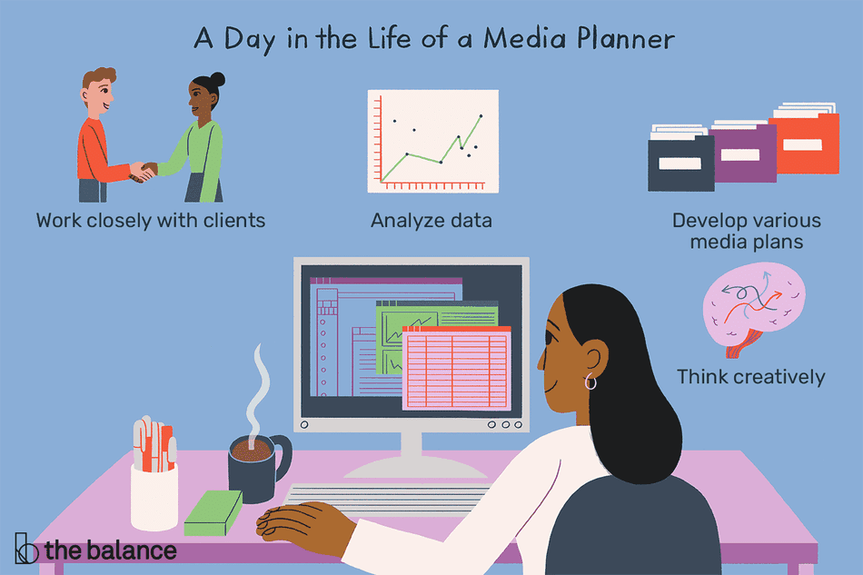 A day in the life of a media planner: Work closely with clients, Analyze data, Develop various media plans, Think creatively