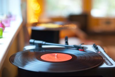A record spinning on the turntable