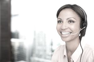 Smiling businesswoman in headset