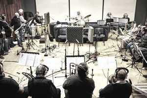 Musicians in recording studio