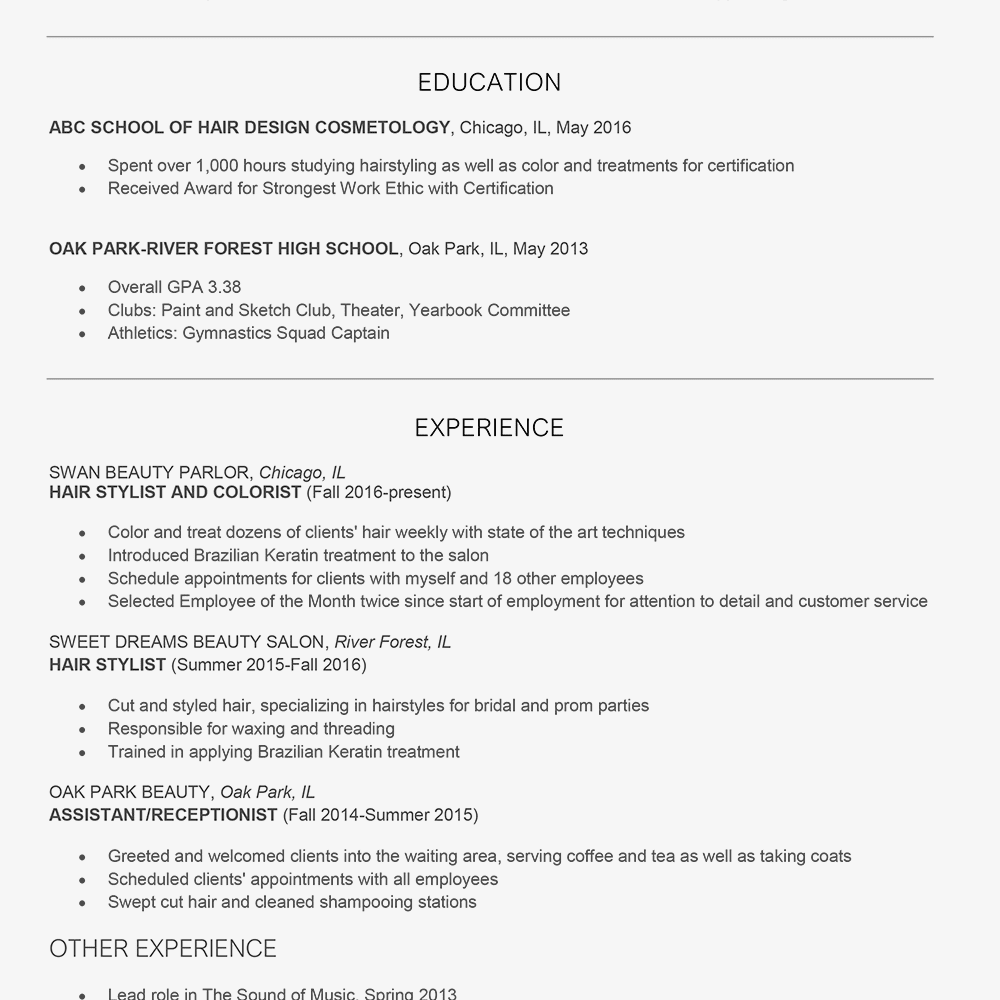 Hair Stylist Cover Letter and Resume Examples