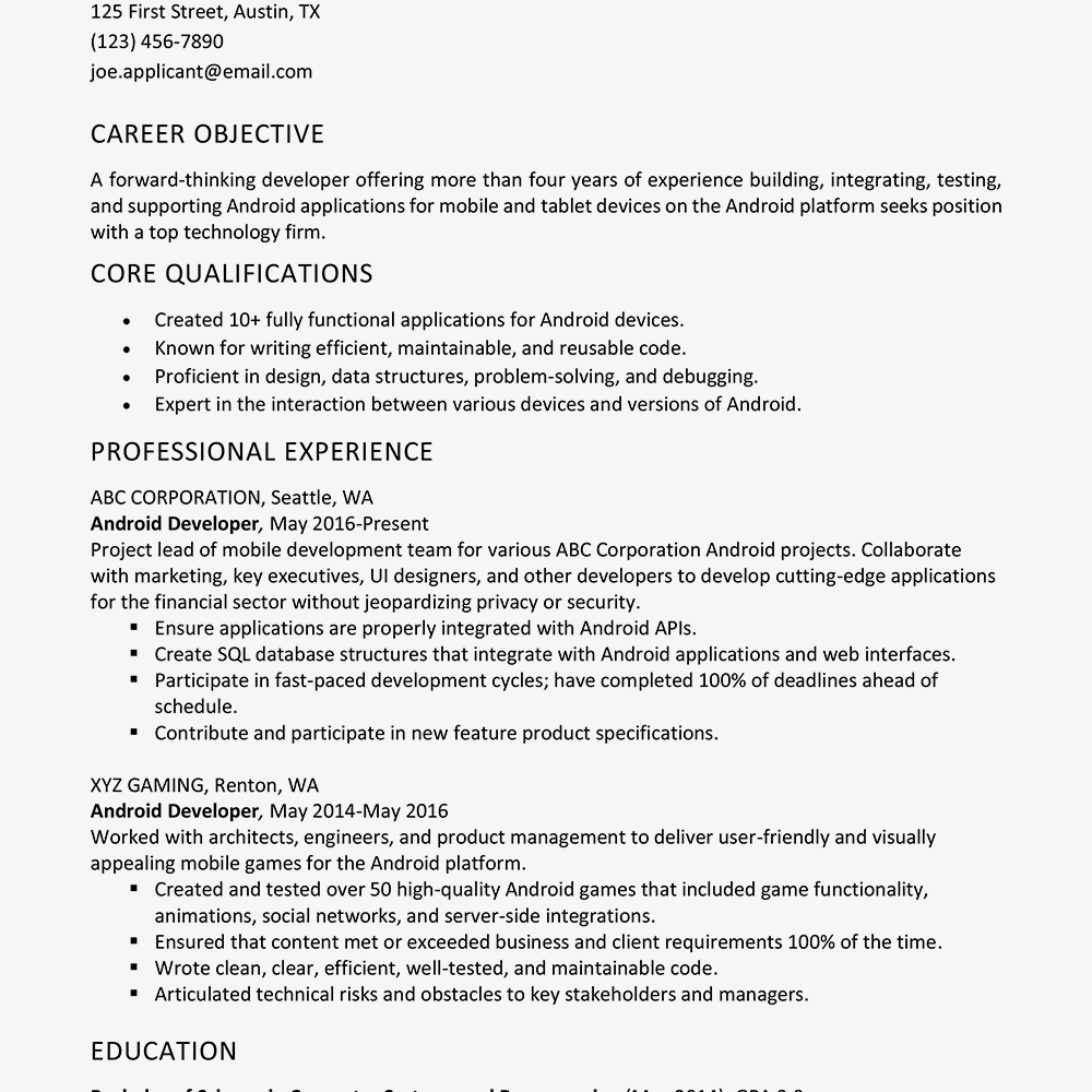 Screenshot Of An Android Developer Resume Example