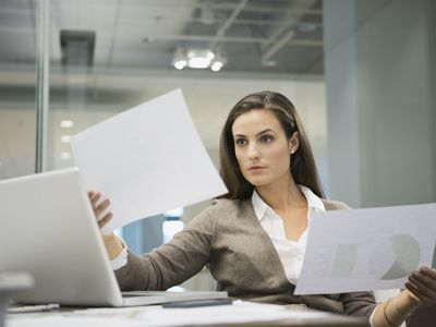Employee answering questions during a self-evaluation survey