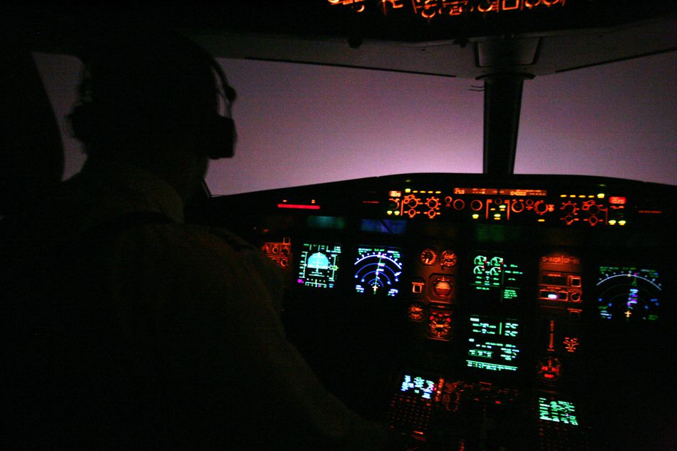 Pilot flying at night