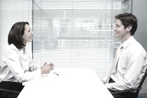 Man and woman during job interview