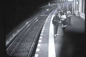 Monitor of surveillance camera in subway station in Berlin, Germany