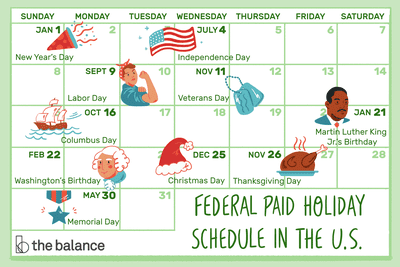 paid holiday schedule graphic