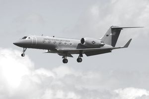 A Gulfstream C-20H executive transport plane of the U.S. Air Force.