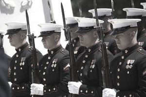Marine Corps soldiers in dress blues