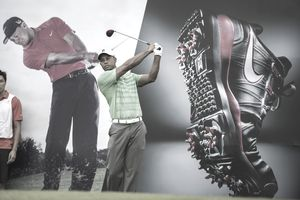 Overlay of several images of Tiger Woods at matches displaying and endorsing Nike products.