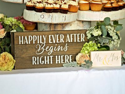 Signs and food as wedding decor