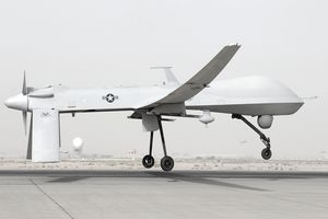 An MQ-1 Predator unmanned aircraft prepares for takeoff in support of operations in Southwest Asia.