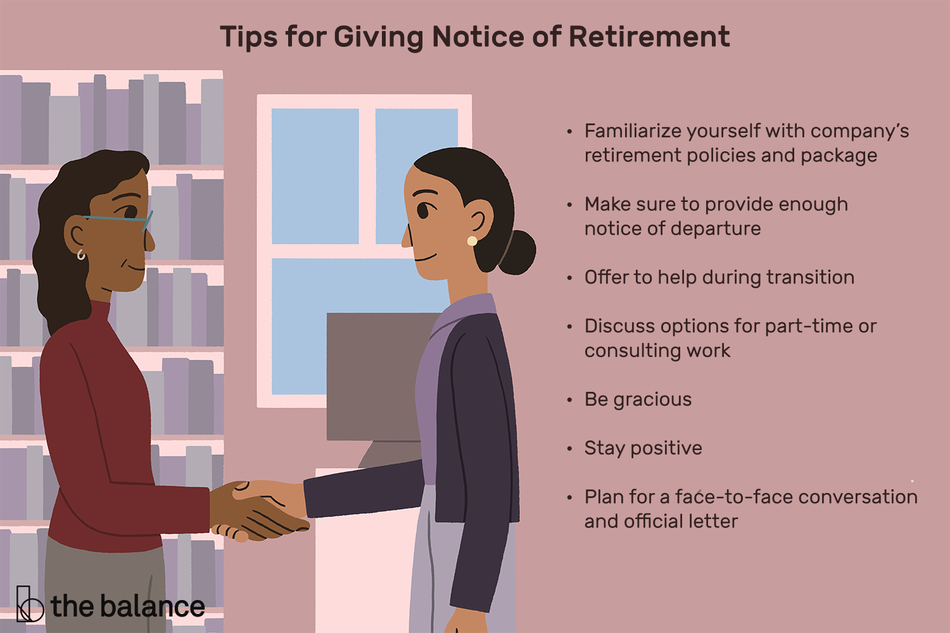 "Image shows two women shaking hands in a library. Text reads: ""Tips for giving notice of retirement: familiarize yourself with company's retirement policies and package; make sure to provide enough notice of departure; offer to help during transition; discuss options for part-time or consulting work; be gracious; stay positive; plan for a face-to-face conversation and official letter"""