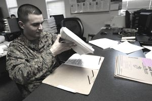 An administrative clerk aboard Marine Corps Base Camp Lejeune