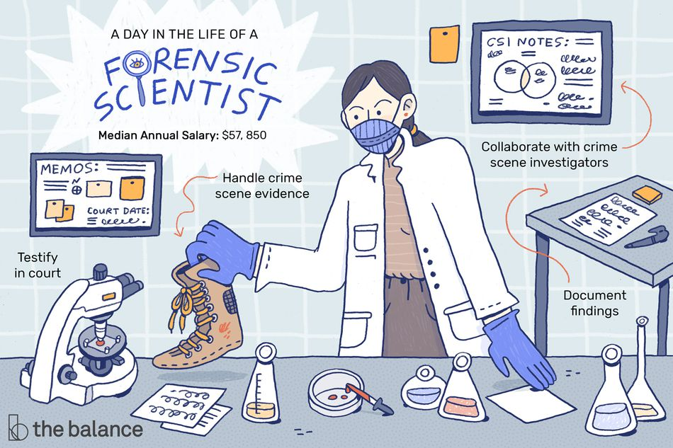 "Image shows a forensic scientist wearing a labcoat and a mask examining an old boot around other beakers and a microscope. Text reads: ""A day in the life of a forensic scientist: Testify in court, handle crime scene evidence, collaborate with crime scene investigators, document findings, median annual salary: $57,850"""