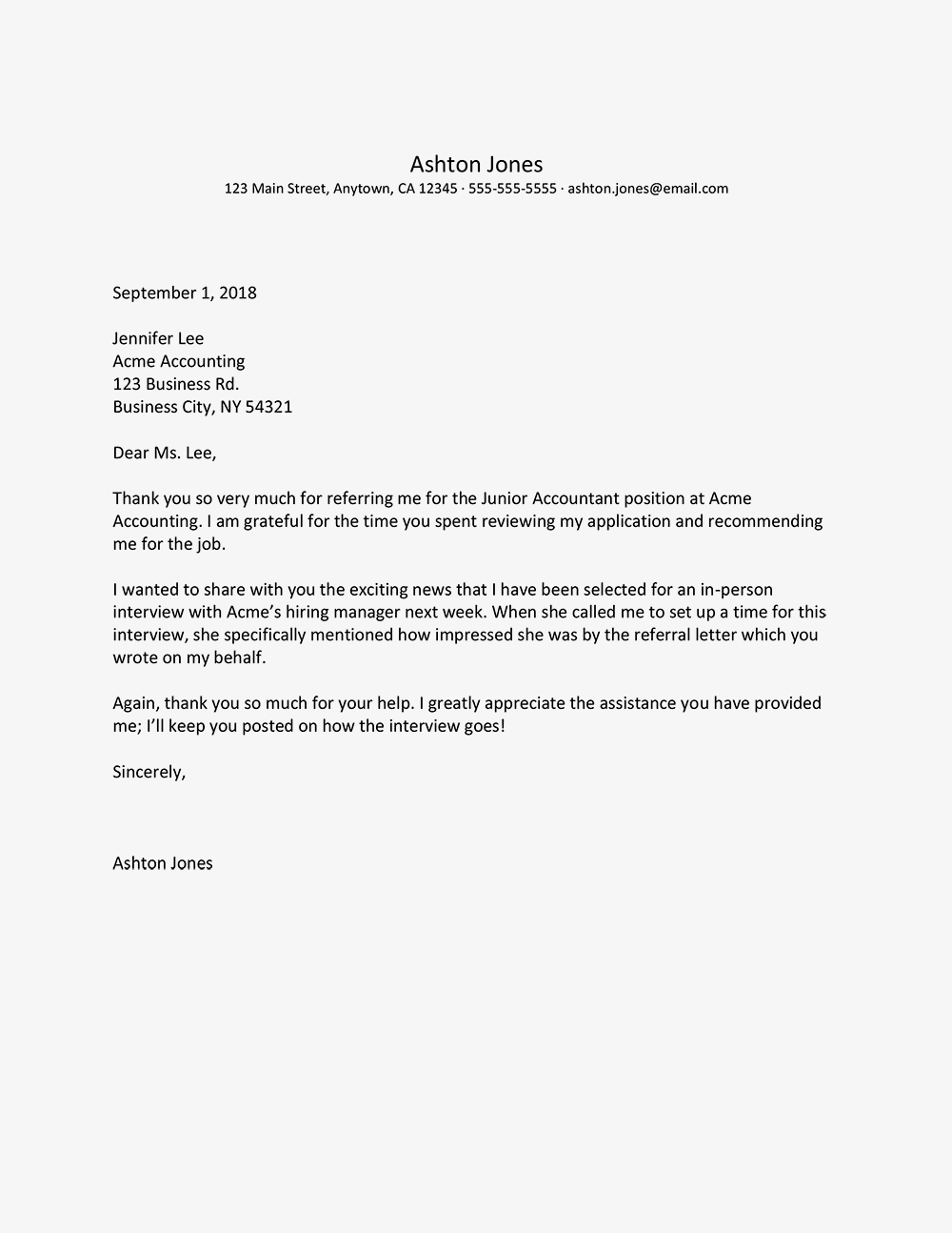 Thank You Letter for a Job Referral