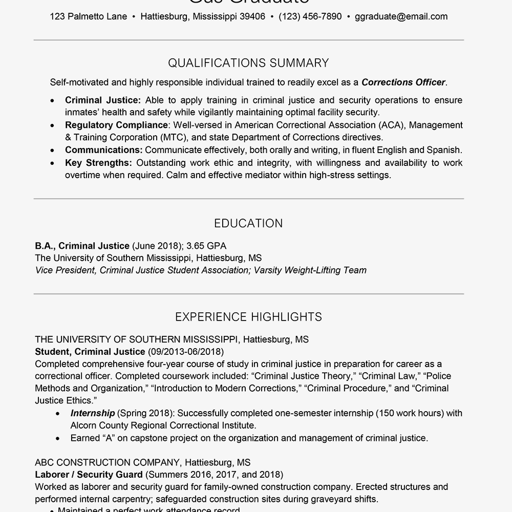 Screenshot Of A College Resume Template