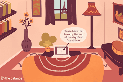 """Soft pink living room with a laptop opened in front of the couch. The screen reads: """"Please have that to us by the end of the day. East Coast time."""""""