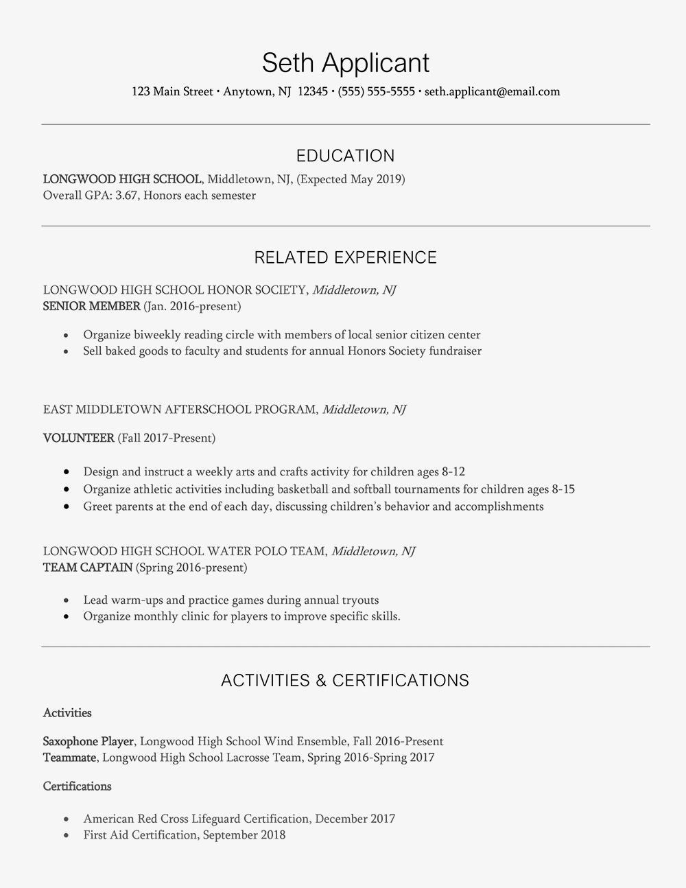 Lifeguard Resume And Cover Letter Samples