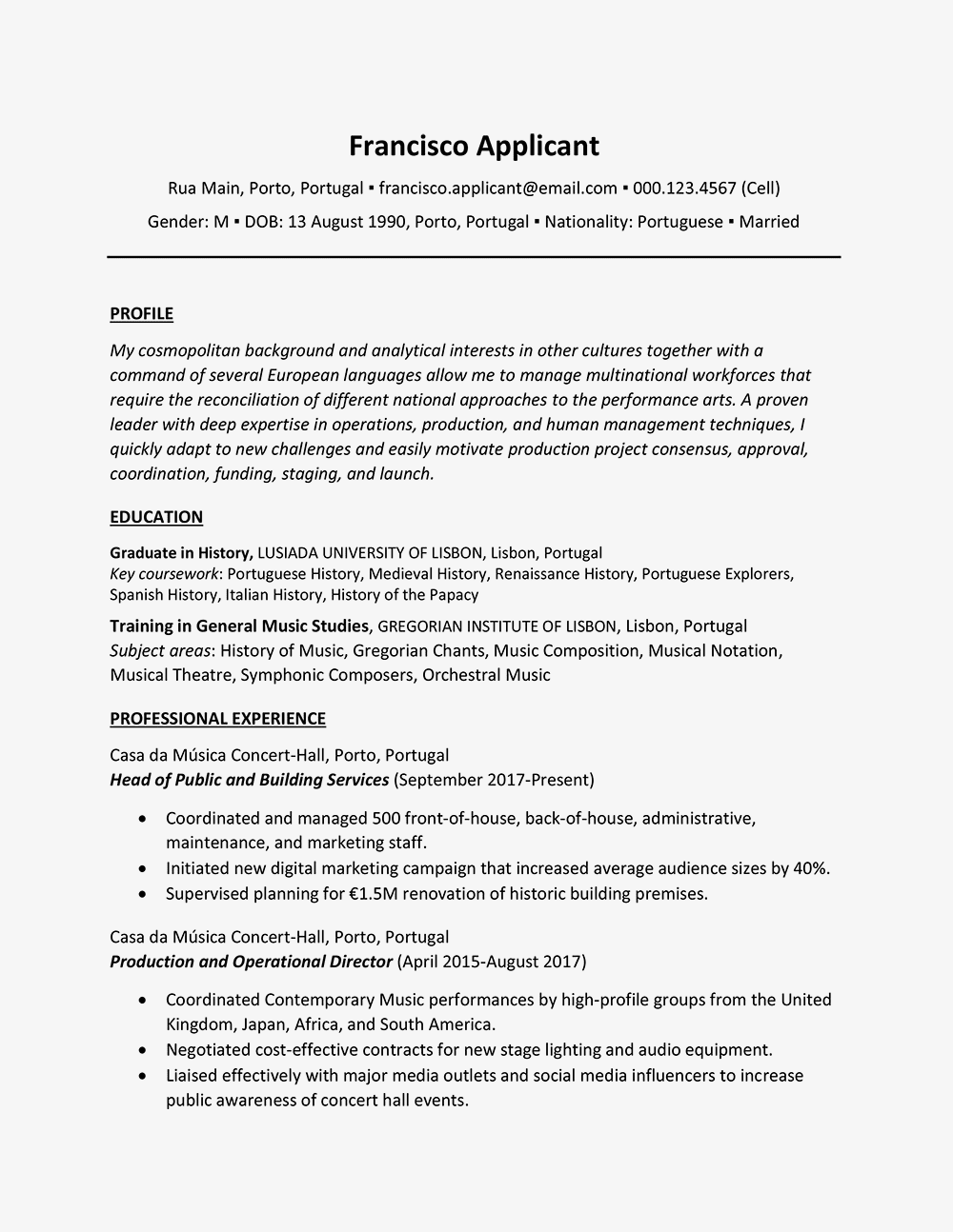 International Curriculum Vitae Example And Writing Tips