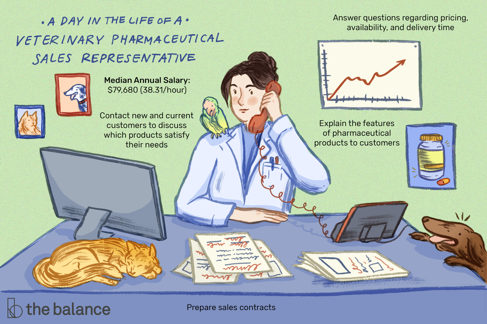 "Image shows a woman on the phone wearing a labcoat. She has a parrot on her shoulder, a can on the desk, and a dog hopping up to the desk. On the wall behind her is a line graph, a picture of a pill bottle, and two portraits of a cat and a dog. Text reads: ""A day in the life of a veterinary pharmaceutical sales representative: Contact new and current customers to discuss which products satisfy their needs, answer questions regarding pricing, availability, and delivery time. Explain the features of pharmaceutical products to customers. Prepare sales contracts. Median annual salary: $79,680 (38.31/hour)"""