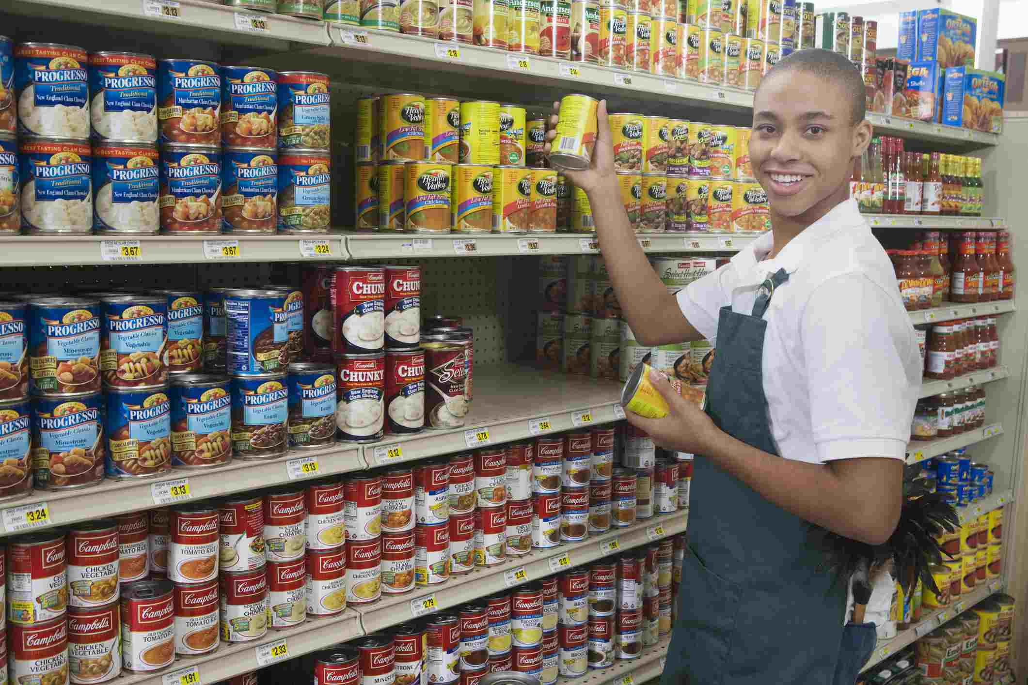 Student working at a grocery store