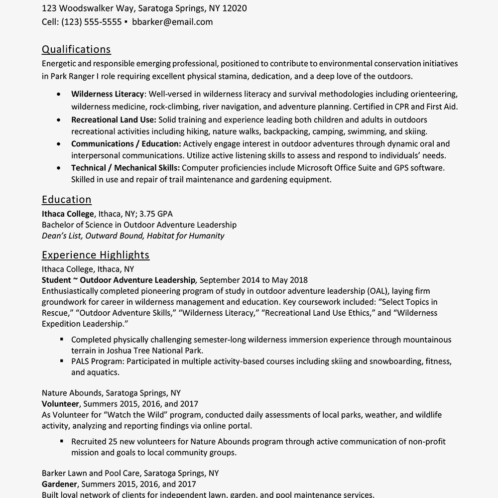 Screenshot Of An Entry Level Resume Example