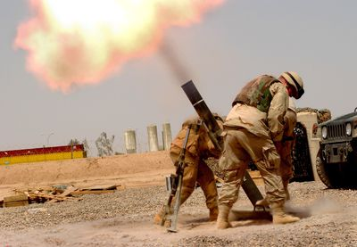 U.S. Soldiers Fire Mortar Shell From Balab AB