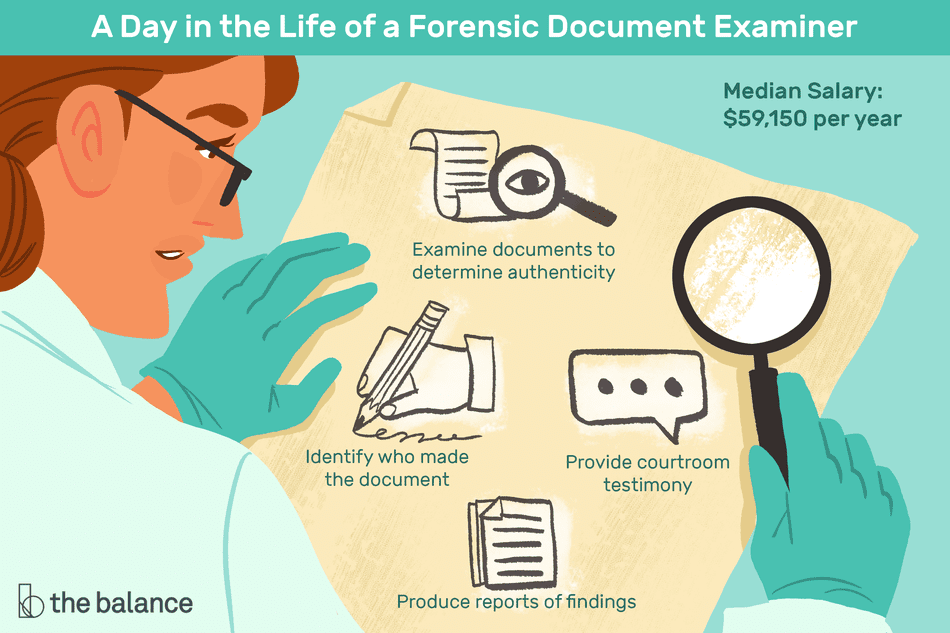 a day in the life of a forensic document examiner. median salary: $59,150