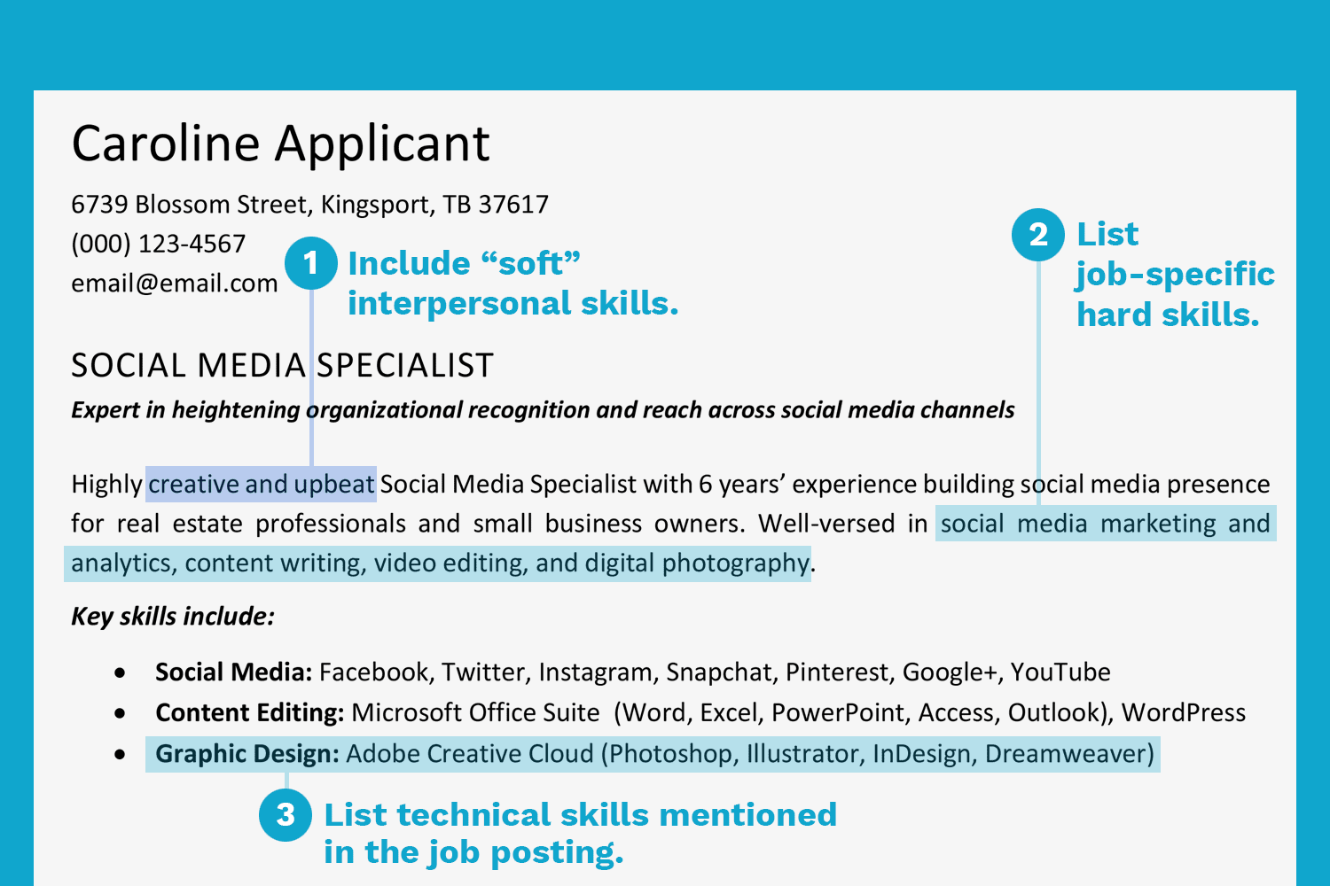 screenshot of a resume with a skills section