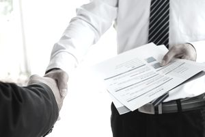 Job applicant having interview. Handshake success job interviewing