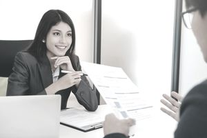 Woman conducting job interview