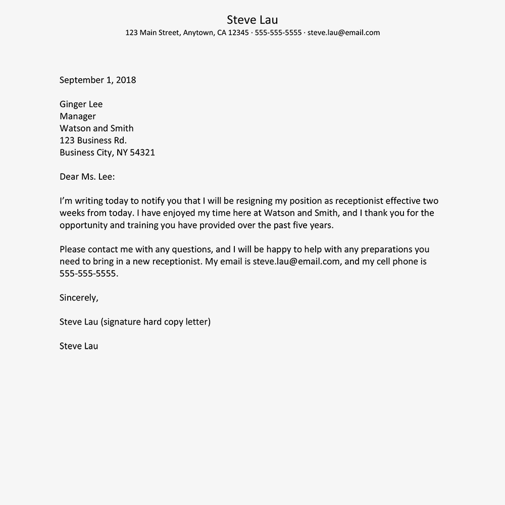 screenshot of a resignation letter example