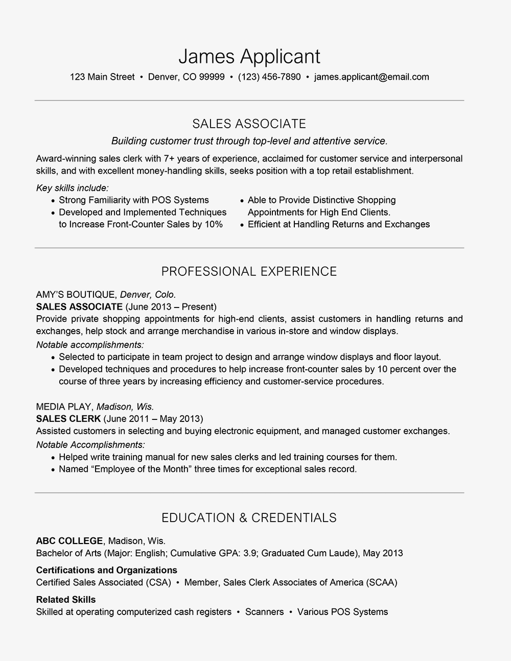 resume headline samples